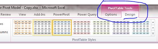 Pivot Table Tools Design Excel