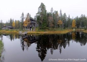Puut ja rakennukset heijastuvat tyyneen Salonkijärveen.