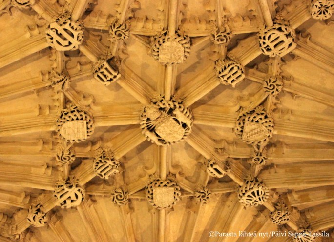 Bodleian-kirjaston luentosalin kattopaneeleita.