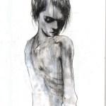 Oscar Giachino (classe 1983 - Accademia Albertina di Torino), Eva, 2015, Tempera e grafite su carta, 100x70 cm