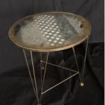 SOLE RODRIGUEZ_55_11, tavolino in ferro battuto dipinto in oro e rivestito con-cravatte e resina, C