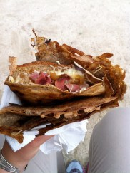 Ham, cheese, and caramelized onion crepe