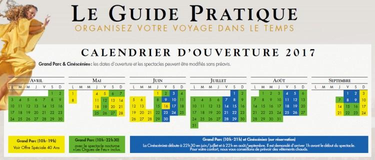 Calendrier 2017 Puy du Fou
