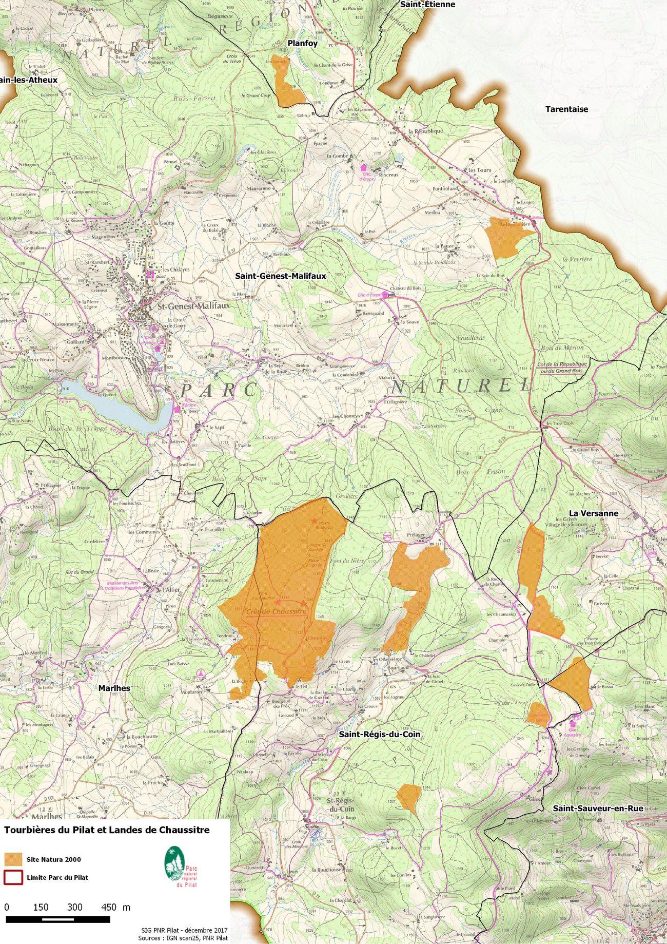 Carte Des Sentiers Du Pilat : carte, sentiers, pilat, Carte, Tourbières