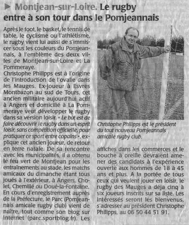 Article rugby - Création PARC Février 2010