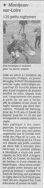 Article rugby - Plateau école de rugby Montjean-sur-Loire