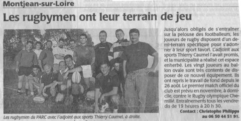 Article rugby - Terrain rugby Montjean-sur-Loire