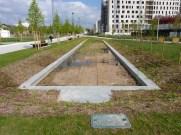 Les bassins, présents en continuité de ceux de la première partie du Parc MLK.
