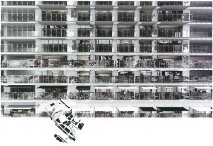 Façade Sud de Parc 17 montrant les stores bannes @ L'Architecture d'Aujourd'hui, Mars 2014