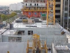 Parc 17, bâtiments A & B, murs des appartements du 8° étage et dalle du 7° étage, 31 octobre 2014