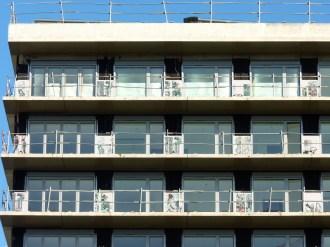 Pose des cassettes sérigraphiées, bâtiment A, 9° à 11° étages