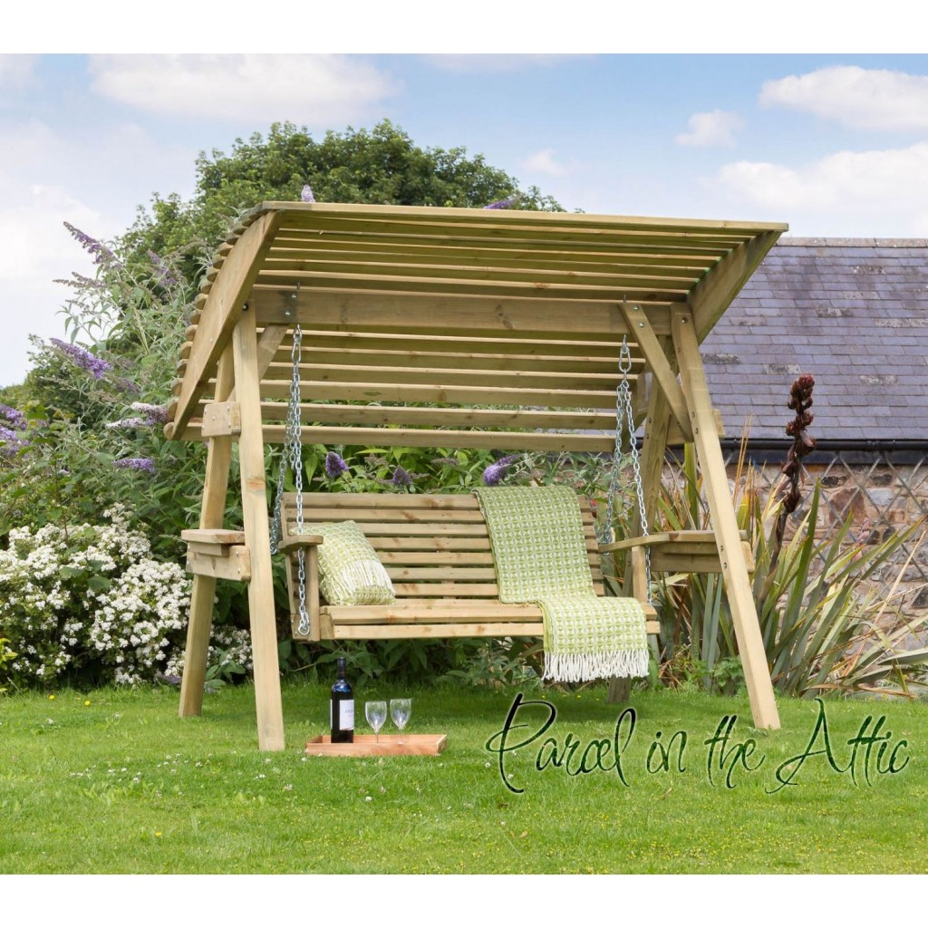 Outdoor Chair With Canopy 2 Seat Wooden Garden Swing Chair Seat Hammock Bench