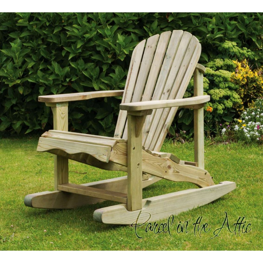 Unfinished Wooden Chairs Solid Wood Adirondack Rocking Chair Parcel In The Attic