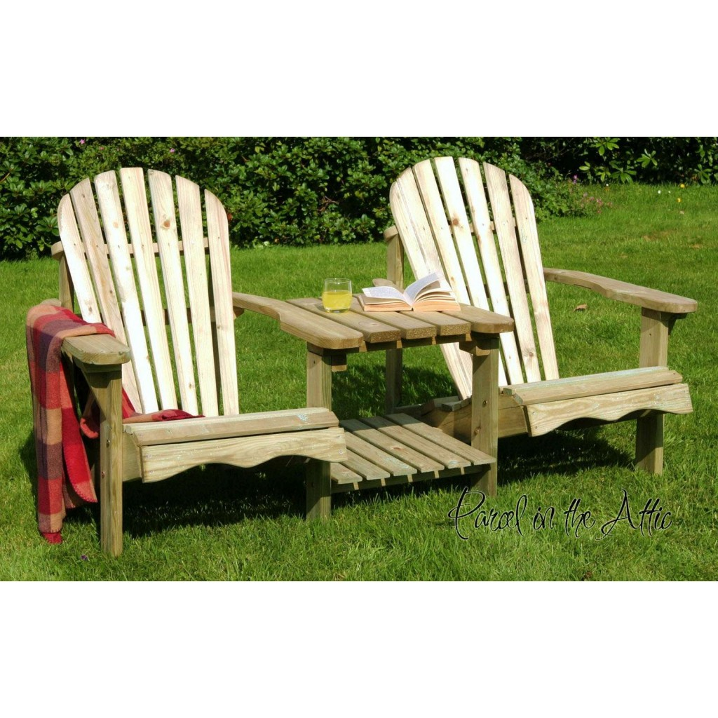 Wood Adirondack Chairs Solid Wood Adirondack Double Chair Parcel In The Attic