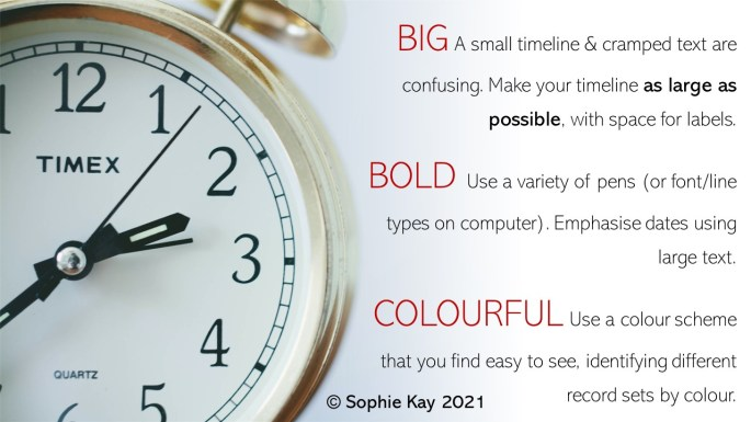 Make your timelines big, bold and colourful