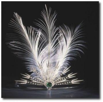 Bijou de tête en platine, diamant, émeraude aigrette et plumes, Chaumet, 1914