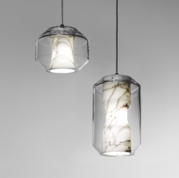 Chamber, Lee Broom - suspension en Marbre Carrara et crystal, Collection Nouveau Rebel
