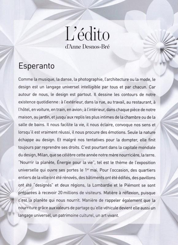 Edito de Anne Desnos-Bré, magazine Marie-Claire Maison, n°477 mai-juin 2015