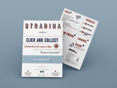 Flyer de l'entreprise Stradina, réalisé par l'agence digitale Pardalys.