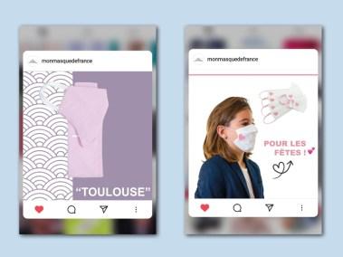 Focus de quelques posts de la page instagram Mon Masque de France.