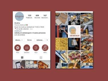 Présentation de la page instagram Stradina, réalisée par l'agence digitale Pardalys.