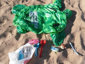 trash at beach