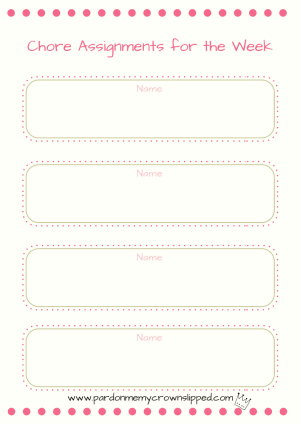 Chore chart printable to get the people in your house on task with helping you out.