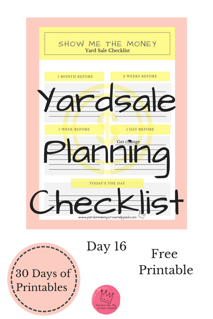 Use this yard sale planning checklist to stay on track and make your next yard sale a success by having a plan.  #yardsale