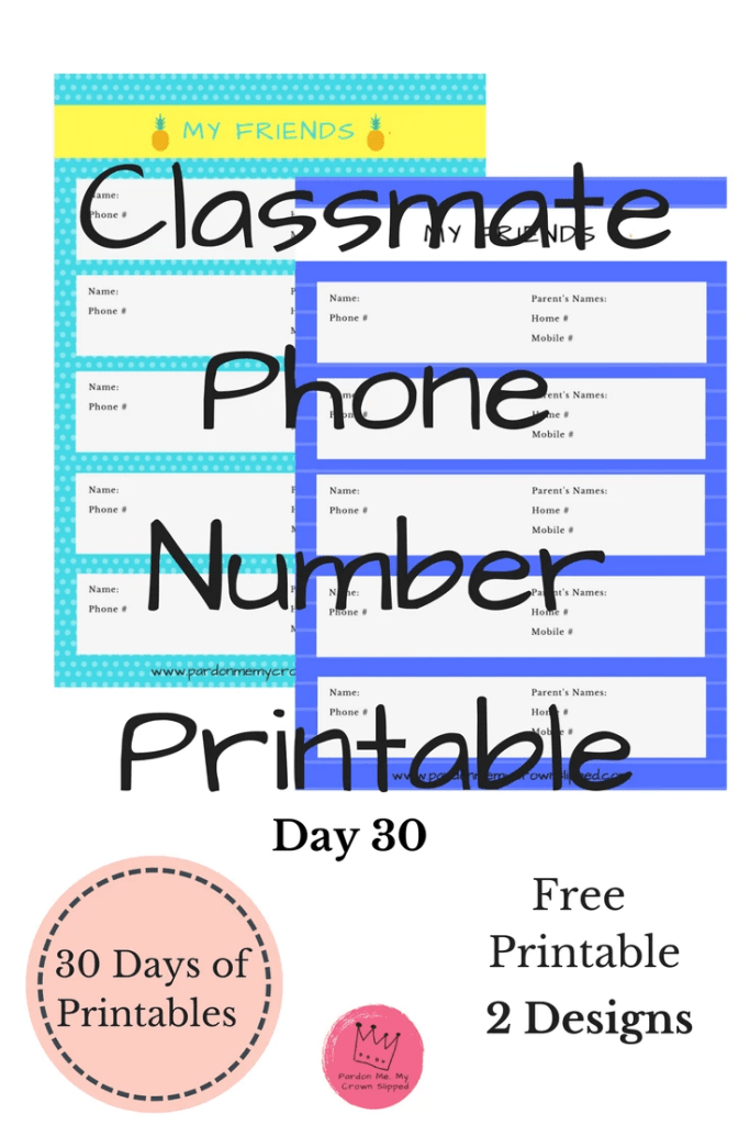 Click here for a handy classmate phone number #printable #endofschool