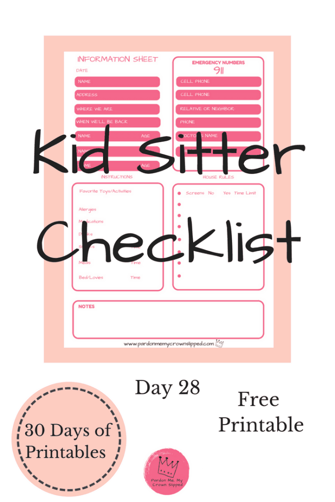 Use this babysitter checklist whether going out for the evening or out of town on that vacation you've been planning over the last few days?