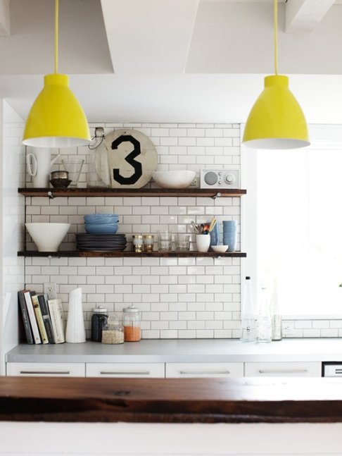 yellow lamps open shelving