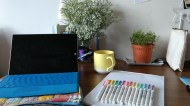 Day 129 - Ambience: studying flowers from Glen + a full rainbow of Mildliners.