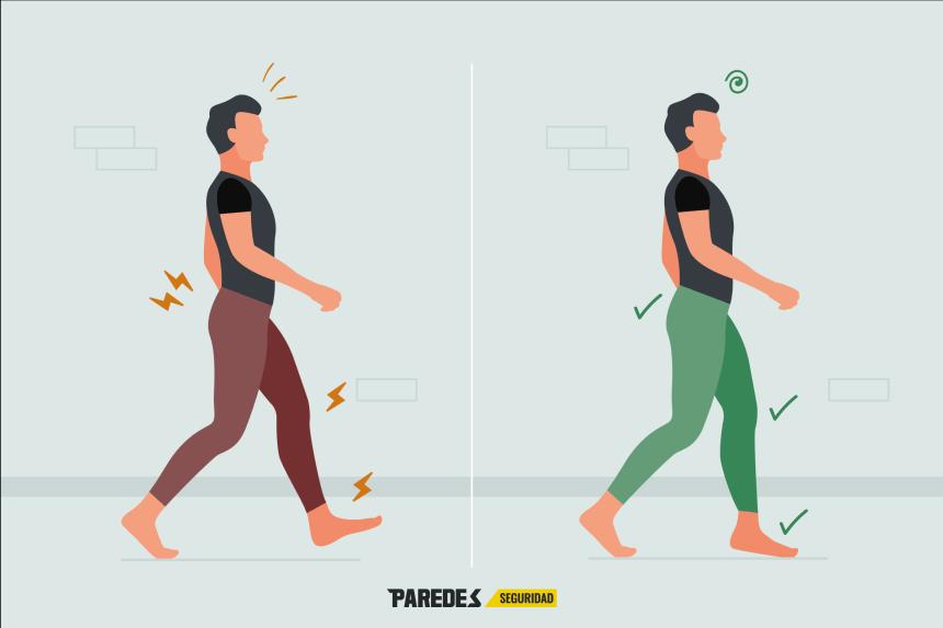 Infografía sobre la postura correcta para caminar bien desde el blog de Paredes Seguridad