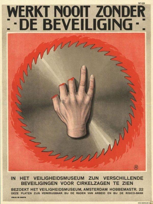 carteles antiguos sobre riesgos laborales siglo XX