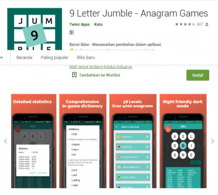 9 Letter Jumble - Anagram Games Learn English App Game, game bahasa inggris