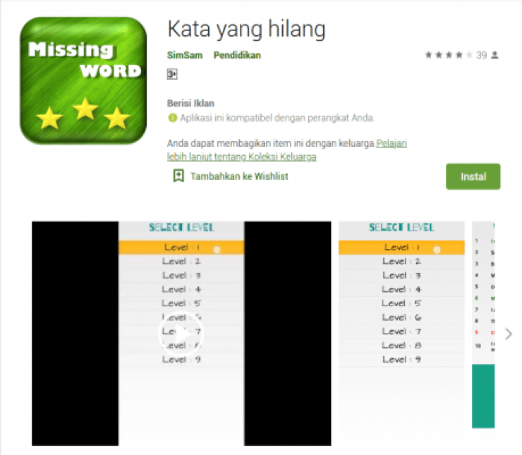 What's Missing Android Learn English App Game, game bahasa inggris