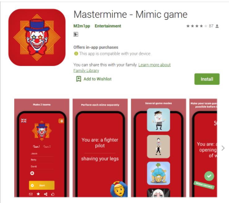 Mastermime - Mimic game  English App Game,