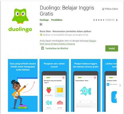 Aplikasi Belajar Bahasa Inggris, Duolingo: Belajar Inggris Gratis