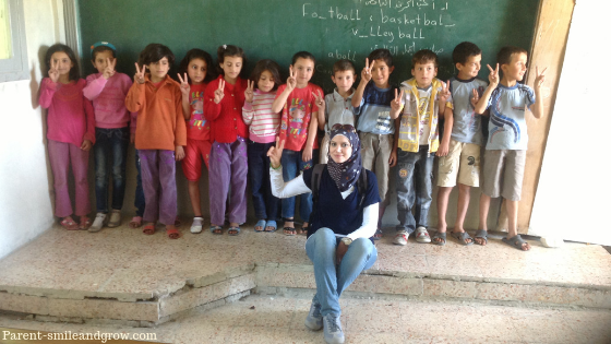 Amazing Story of a Syrian Mother with children and teachers