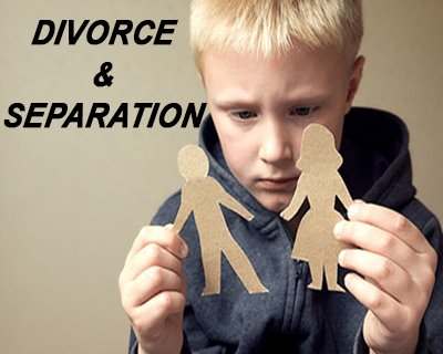 child pulling paper cutouts of a man and woman apart