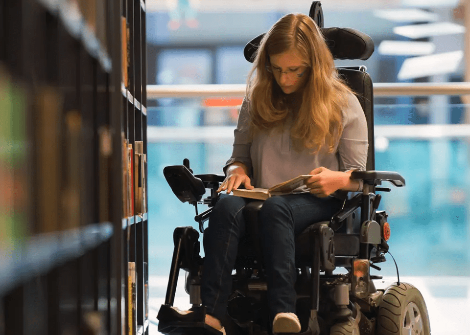 student in wheelchair