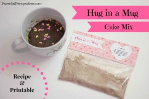 Hug In A Mug: Cake Mix Recipe and Free Printable
