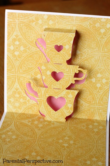 A stacked tea cups thinking of you card created with my Silhouette | Parental Perspective