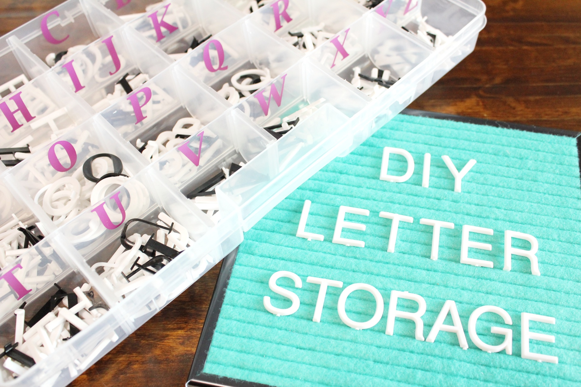 DIY Letterboard Letter Storage - Simple and inexpensive way to organize and store numbers and letters for your letter boards