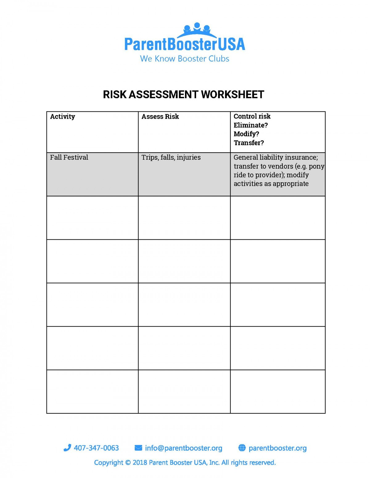 Risk Assessment Worksheet