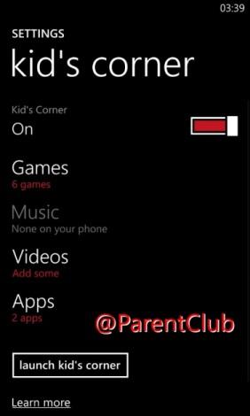 Kid's Corner on Windows Phone