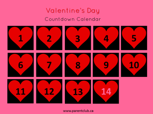 Countdown calendar for Valentine's Day