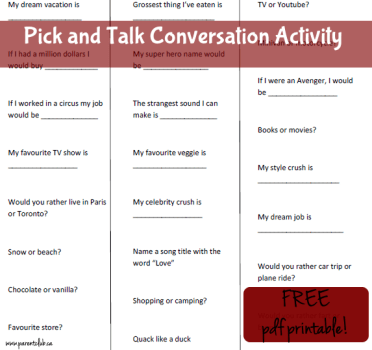 Pick and Talk Conversation Activity - birthday party activity idea