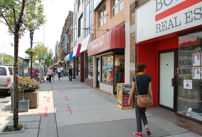 Shopping and restaurants on Danforth Ave, Toronto - Romantic Getaway in Toronto Tips