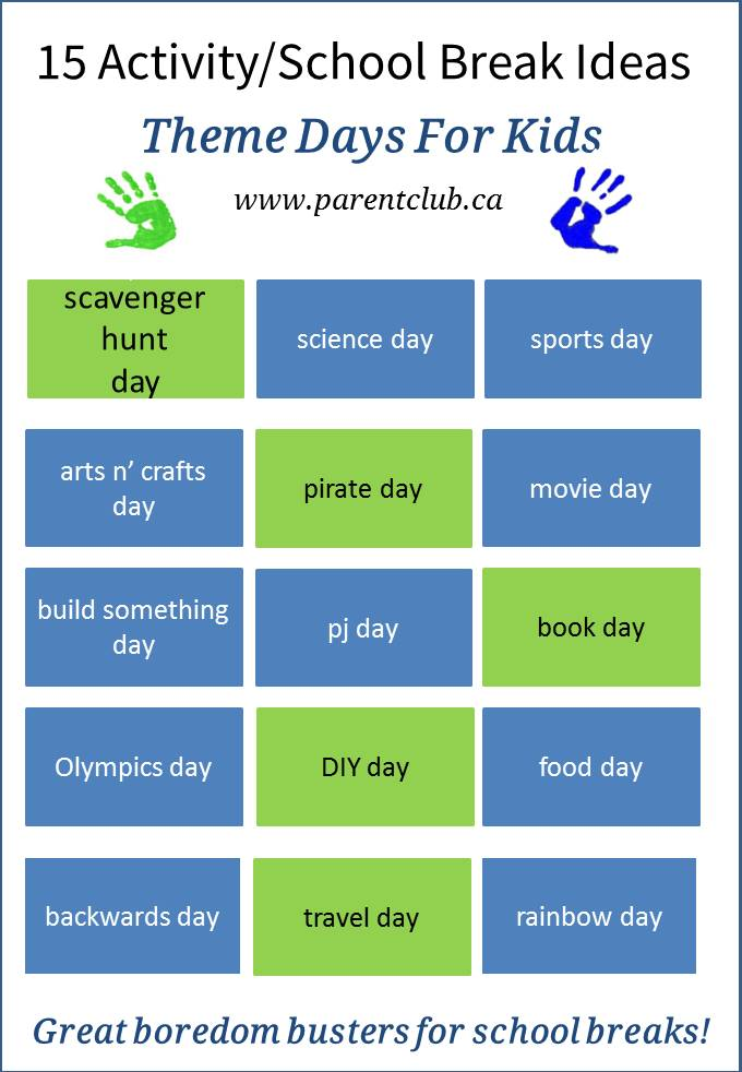 15 Activity and School Break Theme Day Ideas for Kids,-camp-theme-ideas, March break ideas and Spring Break activities for kids